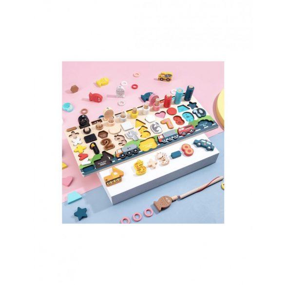 Joc din  lemn 6 in 1 Logaritmic Montessori  , cifre , forme , inele si autovehicule de transport si interventie , Picodino®