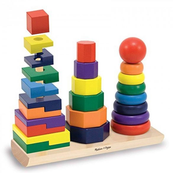 Jucarie din lemn cele 3 turnuri,Geometric Stacker, Picodino