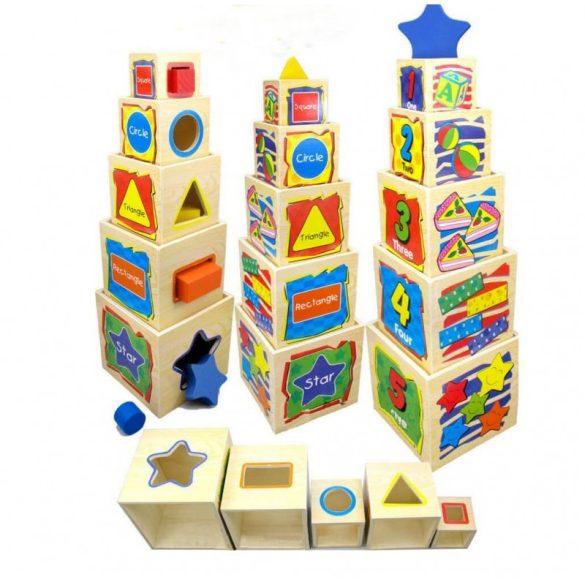 Turn 5 Cuburi Sortatoare din Lemn, Picodino