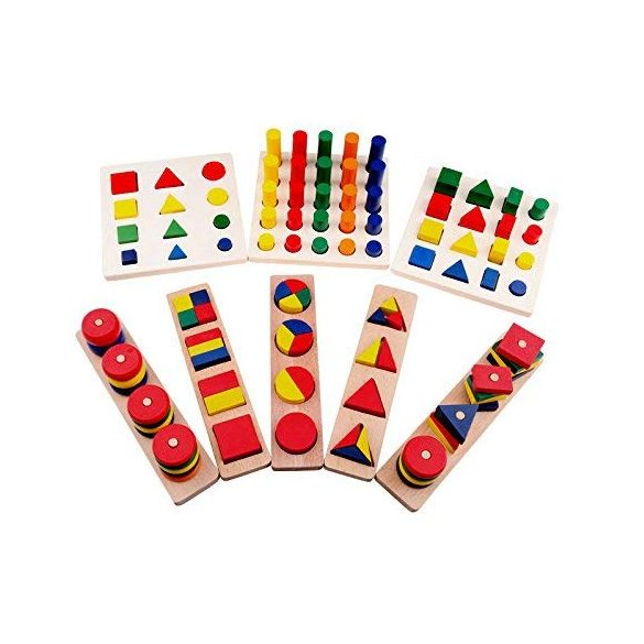 Set 8 jocuri de sortat Montessori ,diferite forme geometrice ,Picodino