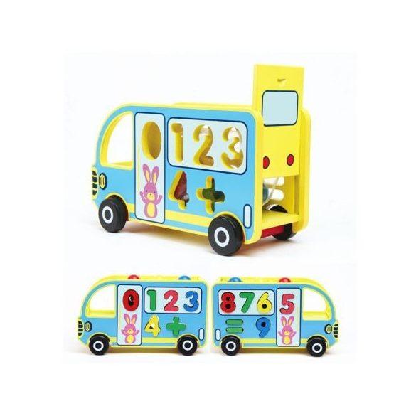 Autobuz din lemn educativ 5 in 1
