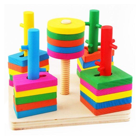 Coloane sortatoare de forme din lemn