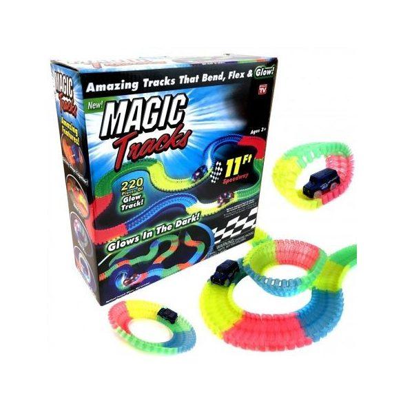 Magic Trucks , pista flexibila  cu 220 piese fosforescente si masinuta cu LED