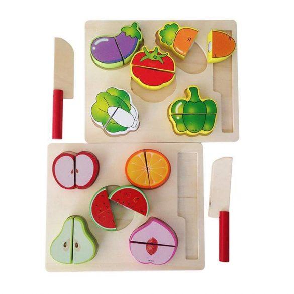 Puzzle din lemn cu fructe de taiat
