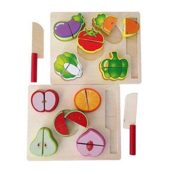 Puzzle din lemn cu legume de taiat