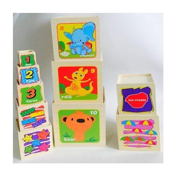 Set 10 cuburi din lemn