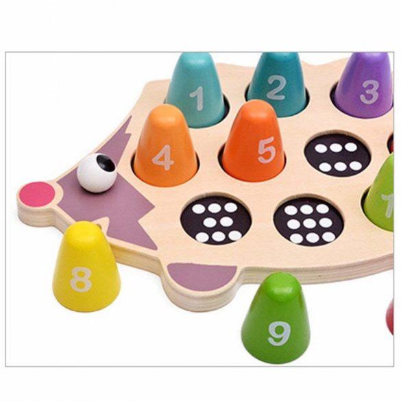 Loc montessori din lemn , Ariciul puzzle si joc matematic
