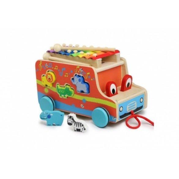 Jucarie Autobuz din lemn cu sortator si xilofon si animalute