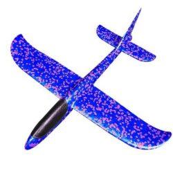 Avion planor din polistiren cu lumini, 48 cm Albastru