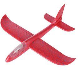 Avion planor din polistiren  cu lumini ,48 cm Rosu