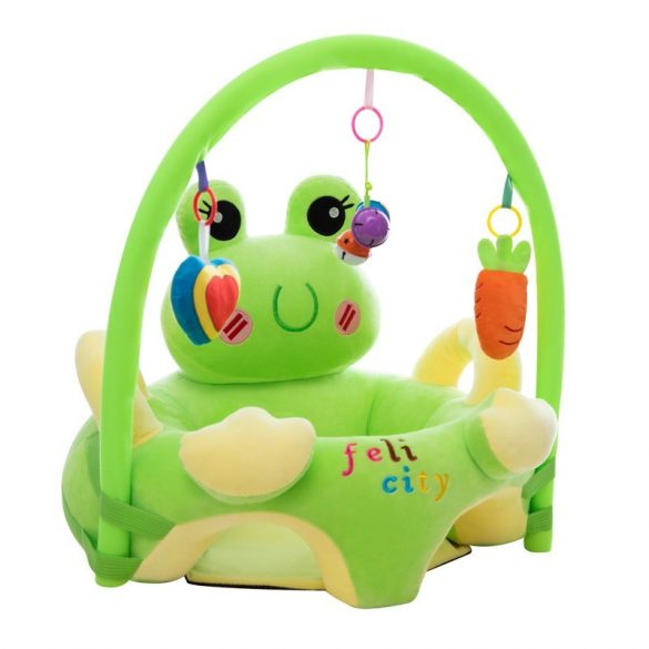 Fotoliu 3D  bebe, Broscuta Vesela cu arcada jucarii, dimensiune jumbo 55cm ,  Picodino®