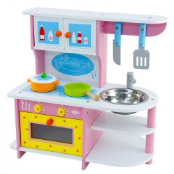 Bucatarie din lemn pentru fete , roz cu cuptor si ustensile , Picodino