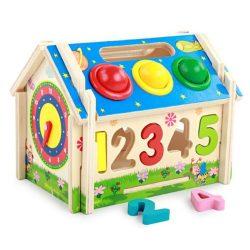 Casuta din lemn cu forme geometrice,numere ceas si ciocanel
