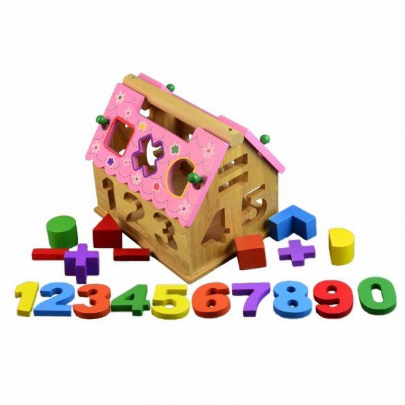 Jucarie lemn ,Casuta sortator forme, numere si acoperis detasabil, Picodino
