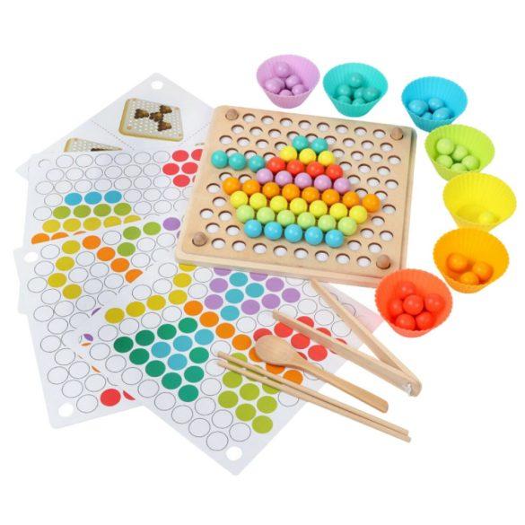 Joc educativ de motricitate fina, sortare, mozaic cu bile din lemn, cleste, lingura, chopsticks, Picodino®