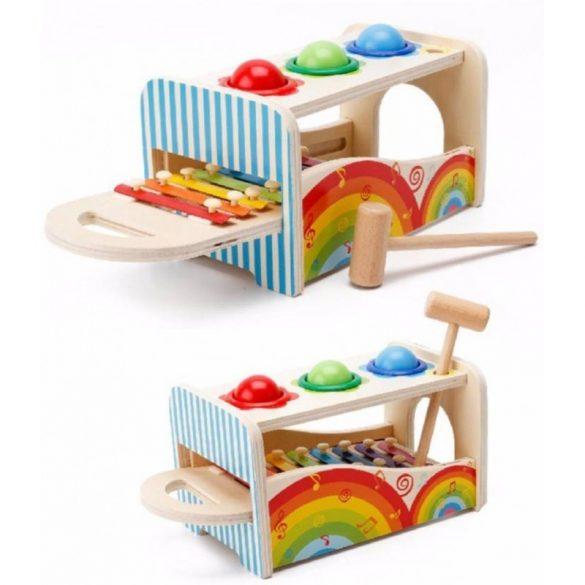 Jucarie din lemn cu ciocanel si bile multicolore si xilofon