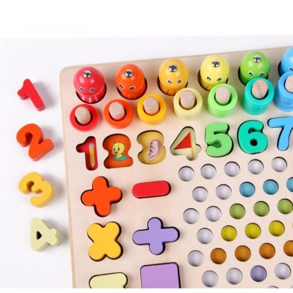 Joc educativ de motricitate fina, sortare, cifre , mozaic cu bile din lemn, cleste, lingura, chopsticks, Picodino