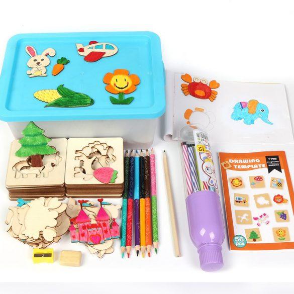 Trusa desen cu Sabloane din lemn si accesorii , 50 de tipare si decupaje pentru desen , Picodino®
