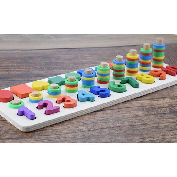 Jucarie  Montessori potrivire blocuri de lemn , numere si forme  , Picodino