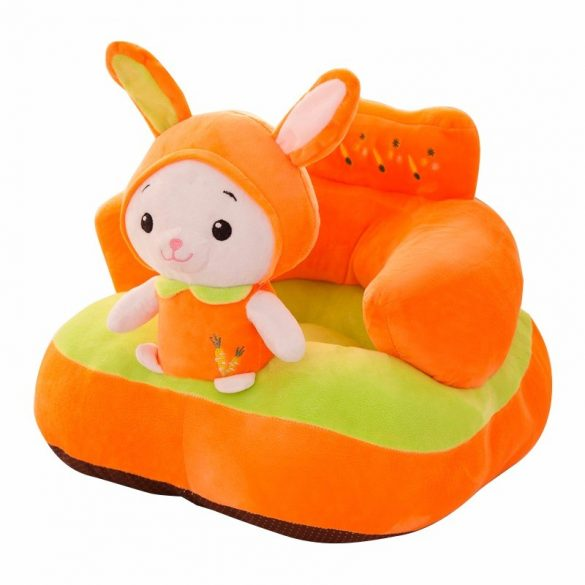 Fotoliu bebe plus cu spatar Animalute culoare portocaliu