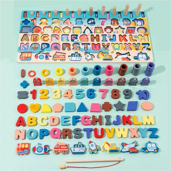 Joc lemn 6 in 1 Montessori logaritmic cu stivuire piese, litere, cifre,  forme mijloace transport ,forme geometrice si pescuit magnetic,  Picodino®