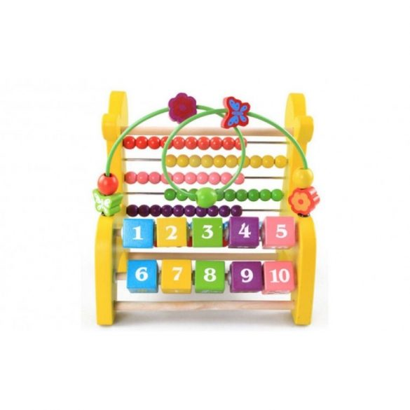 Jucarie educativa Montessori 3 in 1, abac si labirint
