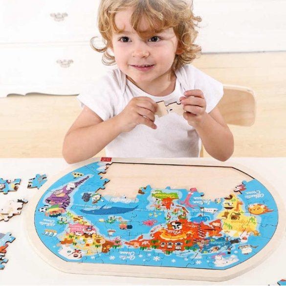 Puzzle din lemn cu supoart inclus , ora de geografie , harta lumii , Picodino®