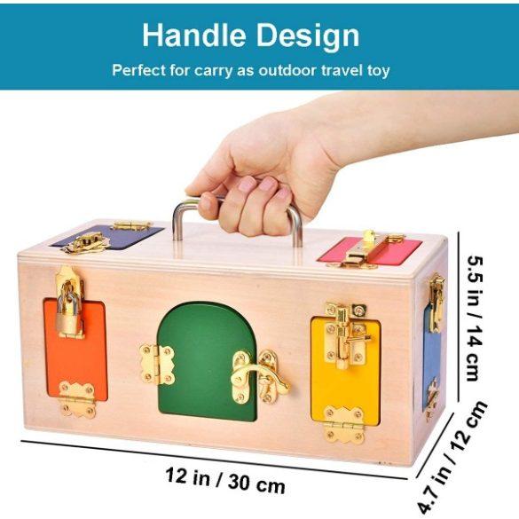 Jucarie cutie cu incuietori, forme si animale - incuie si descuie usa , Picodino®