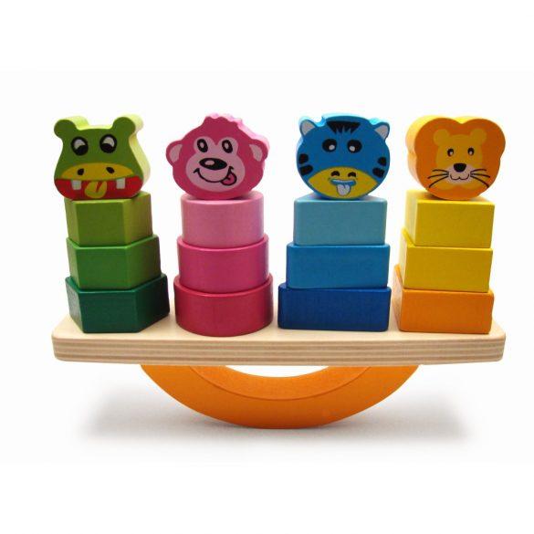 Jucarie din lemn Montessori , Joc de echilibru, sortare si stivuire forme geometrice din lemn animale, multicolor ,Picodino