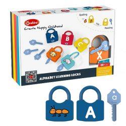 Joc educativ Montessori Alfabetul cu incuietori Onshine Locks, 52 piese