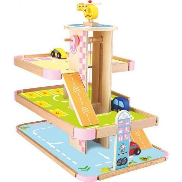 Jucarie din lemn , parcare 3 etaje ,lift si heliport , Picodino