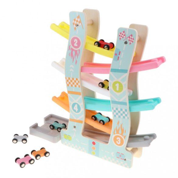 Jucarie educativa , interactiva din lemn, pista de curse cu masinute multicolorate, circuit din lemn cu 6 piste, Picodino