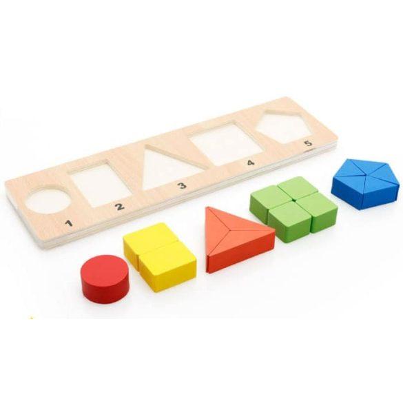 Puzzle Montessori din lemn cu  5 reprezentari , Picodino