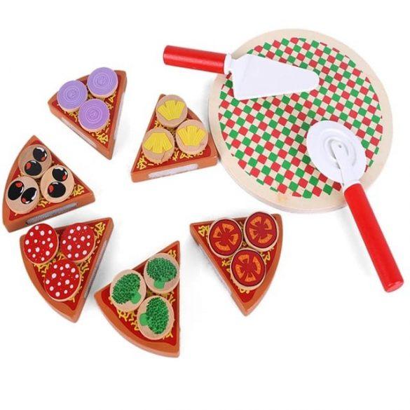 Jucarie Montessori pizza din lemn de feliat si accesorii , 27 piese , Picodino®