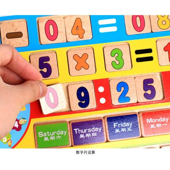 Tablita multifunctionala cu cifre si ceas matematica si engleza , 95 piese ,  Jucarie Montessori , Picodino®