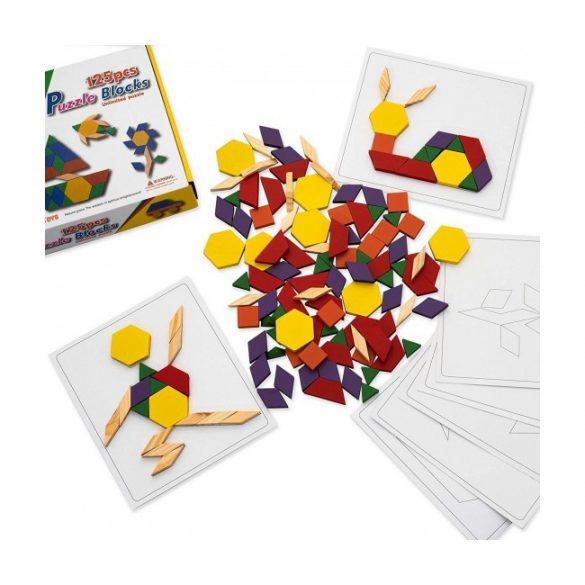 Tangram 125 piese ,joc constructie forme geometrice din lemn , Picodino®