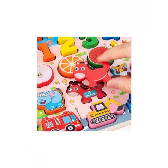 Joc lemn 6 in 1 Logaritmic Montessori  Litere si Cifre , Invatare mijloace transport , membrii familiei , animale , fructe ,Picodino®