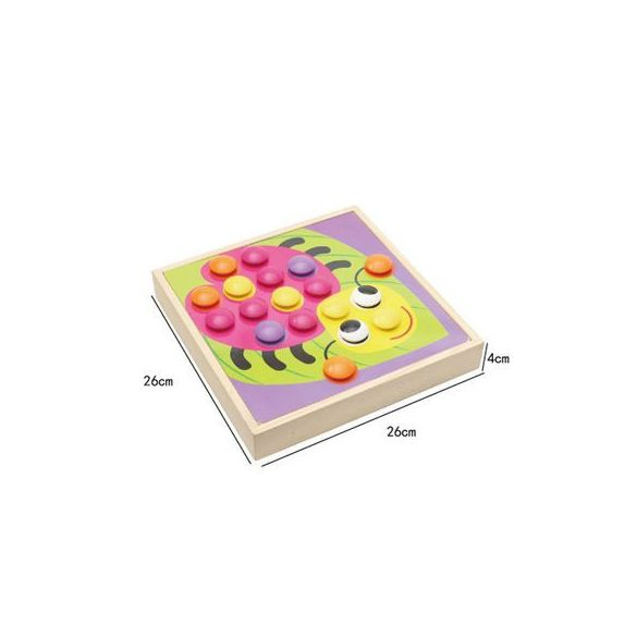 "Joc creativ din lemn ""Mozaic Button Art"", Lemn - Montessori"